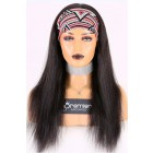 Human Hair Glueless Headband Wig Quick Protective Style Silky Straight, Average Size