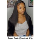 Affordable Lace Wig Relaxed Yaki Texture Indian Remy Human Hair