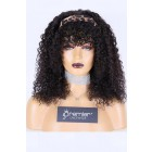 Quick Protective Style Human Hair Glueless Headband Wig Kinky Curly,Removable Full Bangs,Average Size