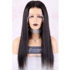 Naomi--Super Thin Transparent HD Lace, Silky Straight Indian Remy Human Hair Lace Wig [Pre-bleached knots only for natural black color, Pre-plucked hairline, Removable elastic band]