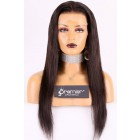 """Silky Straight Hair Transparent Lace 13""""x4"""" Lace Frontal Wig [Pre-bleached knots only for natural black,Pre-plucked hairline,Removable elastic band]"""