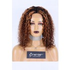 Affordable Real Scalp Silk Top Parting Wig, Highlights Brown Hair Curly Bob Style,14 inches 150% Thick Density, Indian Remy Human Hair