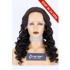 """Curly Style Lace Front Wig Chinese Virgin Hair Natural Color 24"""" 180%, Medium Size, Transparent Lace, Pre-plucked hairline, pre-bleached knots"""