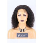 Clearance Lace Front Wig Kinky Curly, Indian Remy Hair Natural Color 14 inches,130% Normal Density,Average Size