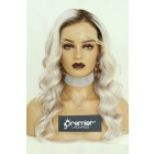 Ash Blonde Wavy Hair 13x4 Lace Frontal Wig, Indian Remy Human Hair, Pre-Plucked Hairline, Removable Elastic Band