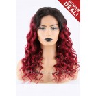 Super Deal 18 inches Red Hair Lace Front Wig Curly, Average Size, 130% Normal Density