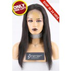 """Super Deal 4.5"""" Lace 360 Wig,Indian Remy Hair Natural Color,16 inches Silky Straight 150% Thick Density, Medium Size,Dark Brown Lace."""
