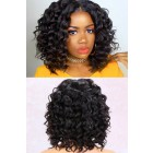 Wand Curls African Americans Texture Yaki Hair Bob Style, Human Hair Lace Front Wig Natural Color 150% Thick Density [Pre-Bleached Knots,Pre-Plucked Hairline,Removable Elastic Band]