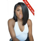 "Swept Bangs Bob Style,4.5"" Lace Front Wig,C Side Part,Yaki Straight Indian Remy Hair,Pre-Plucked Hairline"