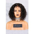 """Permanent Root To Tip Curls Bob,Middle Part 4.5"""" Lace Front Wig [Advanced Pre-Bleached Knots,Pre-Plucked Hairline,Pre-Added Removable Elastic Band]"""