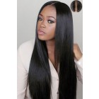 "Human Hair Silky Straight,4.5"" Super Deep Middle Part Lace Front Wigs"