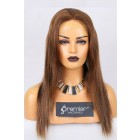 Clearance Full Lace Wig Thin Skin Perimeter Straight, 4/30# 18 inches,120% Normal Density,Medium Size,Light Brown Lace