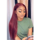 "Burgundy Hair Color #99J,Super Thin Transparent HD Lace, 5""x5"" HD Lace Closure Wig, Indian Remy Human Hair Silky Straight [Pre-bleached knots, Pre-plucked hairline, Removable elastic band]"