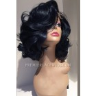Hollywood Glamour Written Curls Black Color 200% Extra Thick Density Human Hair Lace Front Wig