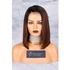 Brown Ombre Bob Lace Front Wig,Deep C Side Part.[Pre-Bleached Knots,Pre-Plucked Hairline,Removable Elastic Band]