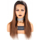 """Brown Ombre Hair 13""""x3"""" Lace Frontal Wig,Chinese Virgin Hair Silky Straight, Average Size,Light Brown Lace"""