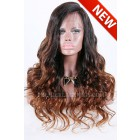 "Long Style Brown Ombre Color Thick Wavy Hair,4.5"" Deep C Side Part Pre-Plucked Lace Front Wigs(In Stock Now )"