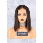 """4.5"""" Deep Middle Part Lace Front Wig,Italian Yaki Thick Hair Bob Brown Highlights"""