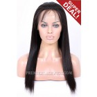 Full Lace Wigs Brazilian Virgin Hair Light Yaki 16 inches & 18 inches,Large Cap size,Light Brown Lace,120% normal density