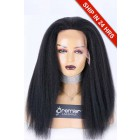"""Kinky Straight 13""""×4.5"""" Lace Front Wigs, Indian Remy Human Hair 1# Jet Black,130% Medium Size"""