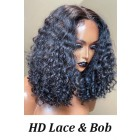 Tiesha--Super Thin Transparent HD Lace Human Hair Wig,Curly Style Bob Cut Natural Color [Pre-bleached knots, Pre-plucked hairline, Removable elastic band]