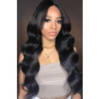 "Eva--Invisible Knots,Super Thin Transparent HD Lace,13""x 6"" Lace Frontal Wig,Indian Remy Hair, Body Wave, Pre-Plucked Hairline, Removable Elastic Band"
