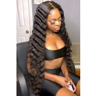 "Gina--Invisible Knots,Super Thin Transparent HD Lace,13""x 6"" Lace Frontal Wig,Indian Remy Hair, Crimped Deep Wave, Pre-Plucked Hairline, Removable Elastic Band"