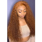 Thabisa--Ginger Color Curly Lace Front Wigs Indian Remy Human Hair [Pre-bleached knots,Pre-plucked hairline,Removable elastic band]