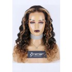 Blonde Ombre Highlights Curly Hair Lace Front Wig,Indian Remy Human Hair 22 inches 180% Extra Thick,Medium Size,Pre-plucked hairline
