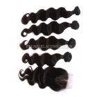 Peruvian Virgin Hair Body Wave A Lace Closure With 4 Bundles Deal