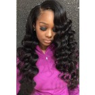 Raven--Super Thin Transparent HD Lace Wigs,Stunning Waves Side Part Indian Remy Human Hair [Pre-bleached knots only for natural color, Pre-plucked hairline, Removable elastic band]