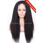 Super Deal Lace Front Wigs Kinky Straight Indian Remy Hair,20 inches, Average Cap Size,130% Density,Light Brown Lace