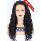 """4.5"""" Lace Front Wig Deep Wave, Indian Remy Human Hair 1B# 22 inches 150%,Medium Size,Pre-Plucked Hairline"""