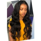 "Body Wave Hair Transparent Lace 13""x4"" Lace Frontal Wig [Pre-bleached knots only for natural black,Pre-plucked hairline,Removable elastic band]"
