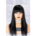 Yaki Straight Full Bangs Non-Lace Wig, Indian Remy Hair,1# 150% Thick Density,Average Cap Size,Pre-Added Removable Elastic Band