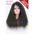Kinky Straight Indian Remy Hair Affordable Side Part Lace Wigs,1B# 18 inches,150% Thick Density,Average Cap Size