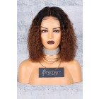 Brown Ombre Bob Textured Natural Curls Lace Front Wig.[Advanced Pre-Bleached Knots,Pre-Plucked Hairline,Pre-Added Removable Elastic Band]