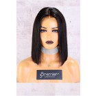 """13""""x6"""" Lace Frontal Wig,Middle Part Yaki Textured Bob,150% Thick Density   [Advanced Pre-Bleached Knots,Pre-Plucked Hairline,Pre-Added Removable Elastic Band]"""