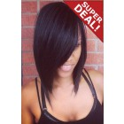 Charming Side Swept Bangs Bob Cut Indian Remy Hair Glueless Lace Front Wig,Average Cap Size
