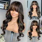 """Blonde Highlights Body Wave Full Bangs Wig With Real Scalp 3.5""""×3"""" Silk Top,Indian Remy Human Hair"""