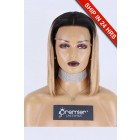 "Blunt Cut Bob Dark Roots Blonde Hair 13""x3"" Lace Frontal Wig, Silky Straight,12 inches, Average Size,150% Thick Density, Removable Elastic Band"