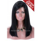 Full Lace Wigs C Side Part Blunt Cut Long Bob,Chinese Virgin Hair Yaki Straight,16inches