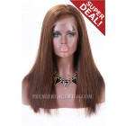 Full Lace Wigs Side Part 4/30# Highlight,Indian Remy Hair,18 inches,Yaki Straight,Large Size