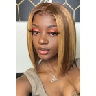 Stella-- Blonde Highlights Hair Blunt Cut Bob Silky Straight Lace Front Wig[Pre-Bleached Knots,Pre-Plucked Hairline,Removable Elastic Band]