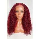 """Burgundy Red Color 5""""×5"""" HD Lace Closure Wigs,Deep Curly Indian Remy Human Hair [Pre-bleached knots, Pre-plucked hairline, Removable elastic band]"""