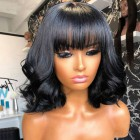 """Wavy Bob Style Full Bangs Wig With Real Scalp 3.5""""×3"""" Silk Top,Indian Remy Human Hair 150% Thick"""