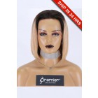 """Blunt Cut Bob Dark Roots Blonde Hair 13""""x3"""" Lace Frontal Wig, Yaki Straight,10 inches, Average Size,150% Thick Density,Transparent Lace, Removable Elastic Band"""