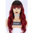 """Dark Roots Burgundy Color #99J Full Bangs Wig With Real Scalp 3.5""""×3"""" Silk Top,Indian Remy Human Hair Wavy Style 150% Thick Density"""