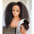 Blowout Style Kinky Texture 360 Lace Wig,Indian Remy Hair,150% Thick Density,Pre-plucked Hairline,Removable Elastic Band