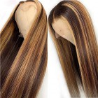 Danielle--Super Thin Transparent HD Lace Human Hair Wig,Blonde Highlights Brown Bone Straight  [Pre-bleached knots, Pre-plucked hairline, Removable elastic band]